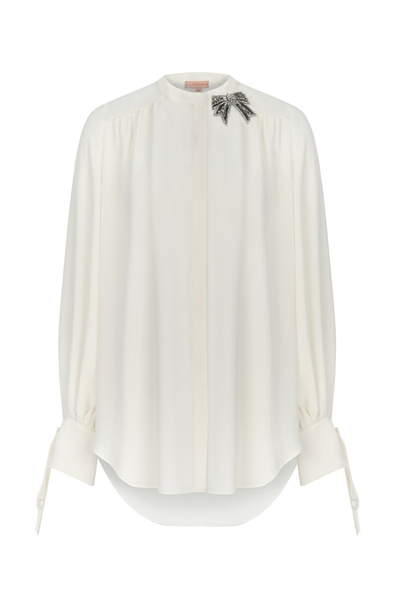 CRISTAL AND METALLIC RIBBON MODULE EMBROIDERED AND TWISTED SHOULDER CHIFFON SHIRT