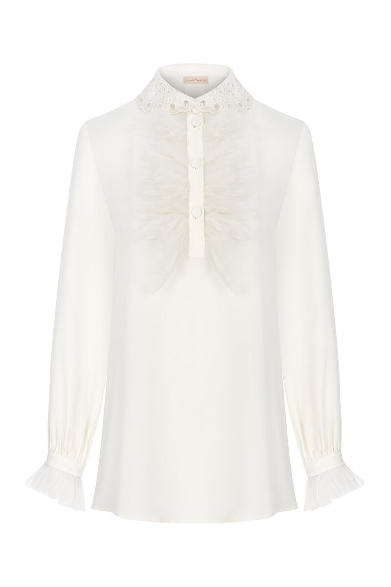 ORGANZE RUFFLE DETAILED COLLAR AND CUFF VISCOSE BLOUSE