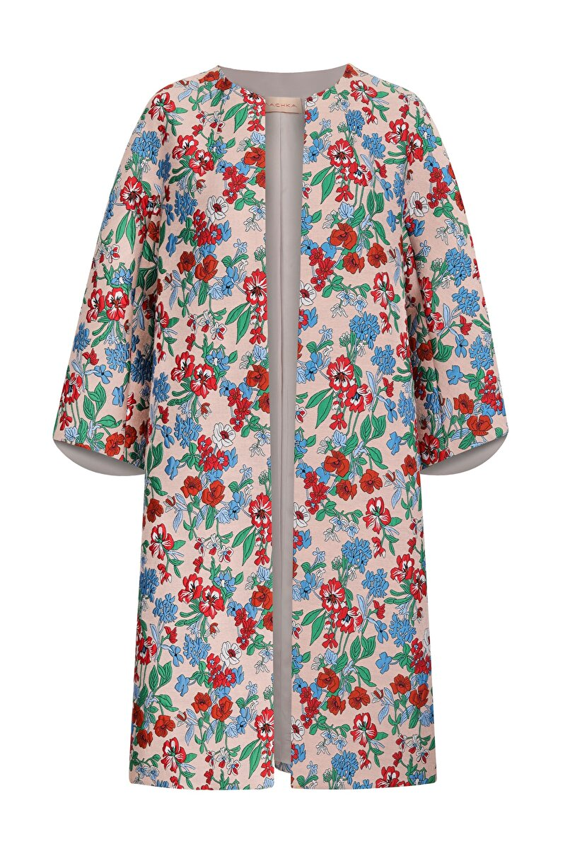 COCOON FORM COLORED FLOWER JACQUARD TOPCOAT