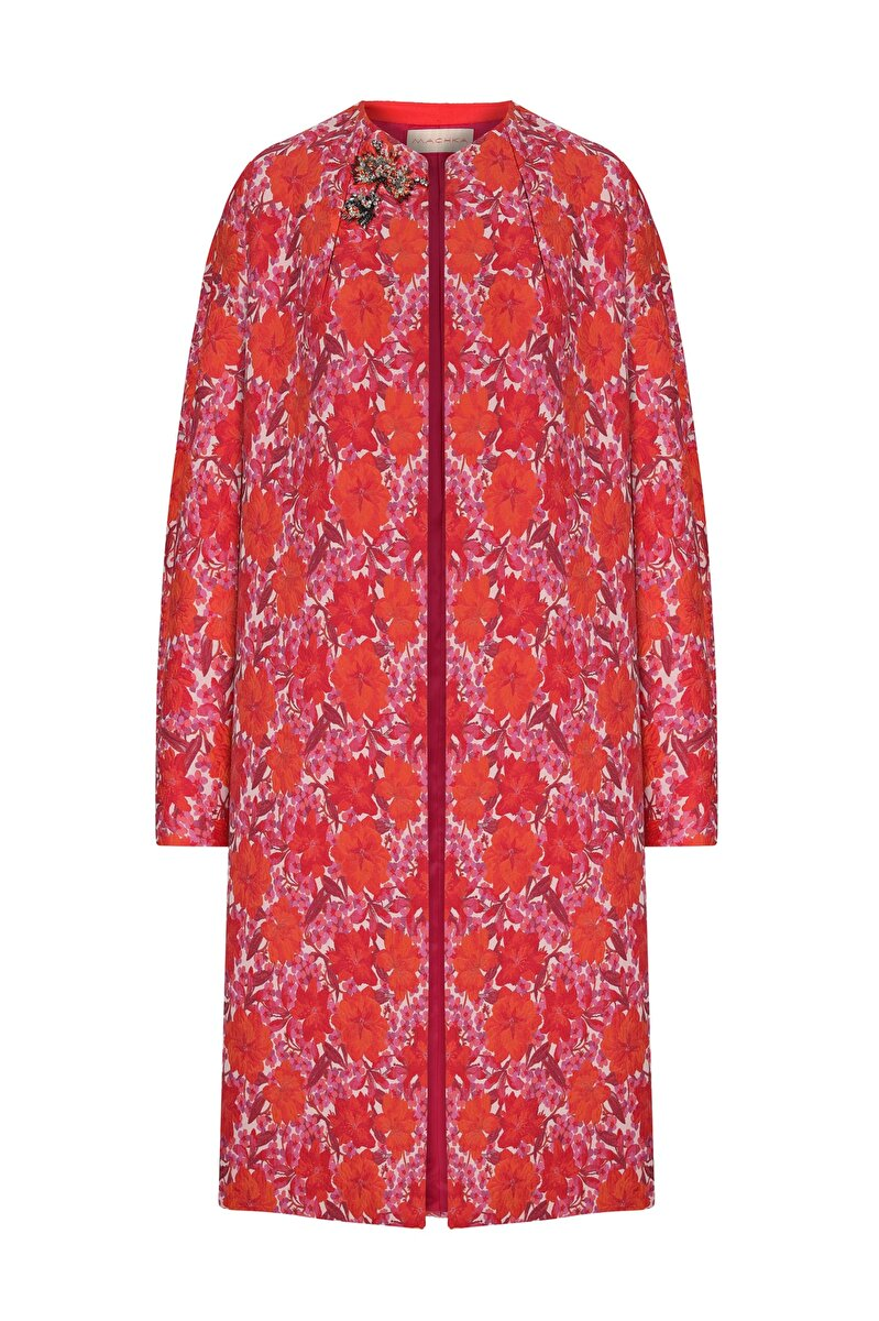 TROPIC FLOWER EMBROIDERED DETAIL FLORAL JACQUARD TOPCOAT