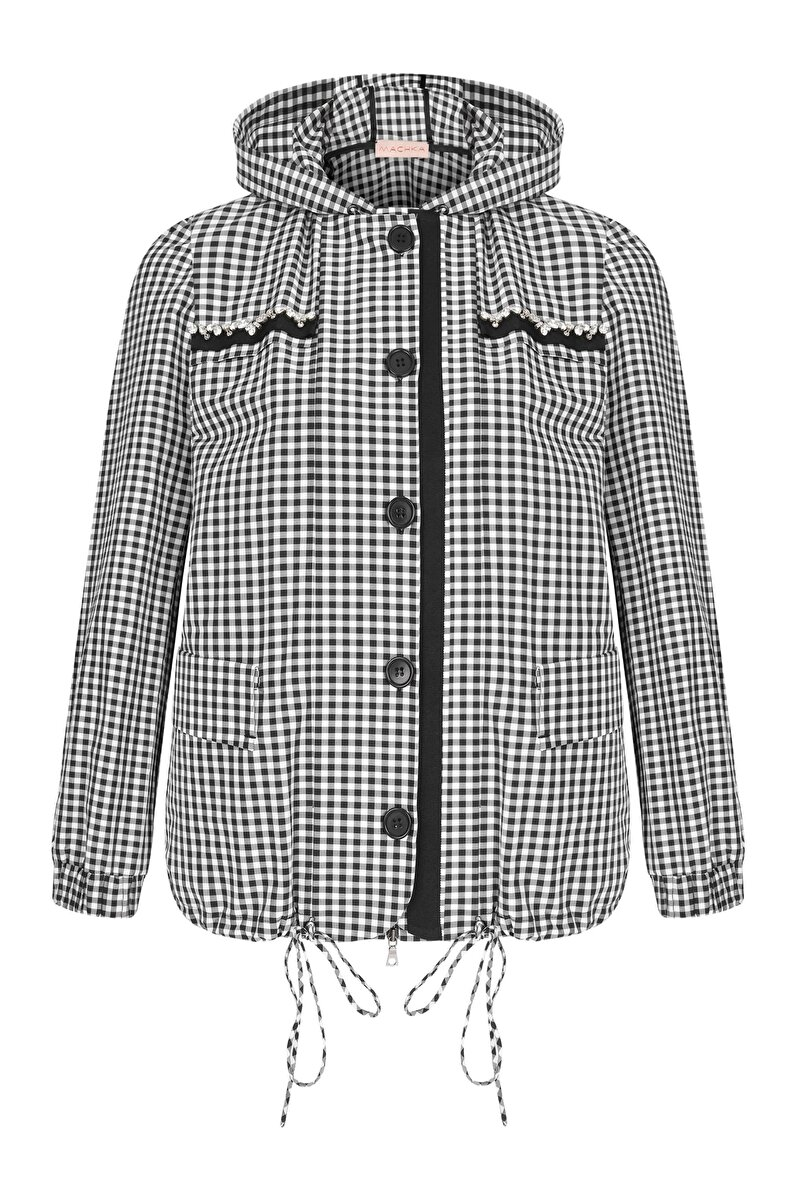 GROSGRAIN AND CRISTAL EMBROIDERED DETAILED CHECK PATTERNED GABERDINE COAT