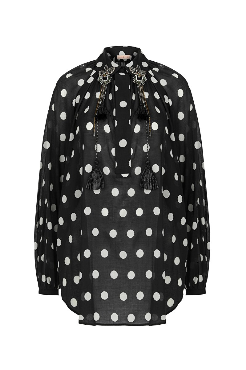 UNIQUE ETHNIC EMBROIDERED DETAILED REGLAN SLEEVE POLKA DOT VOILE TUNIC