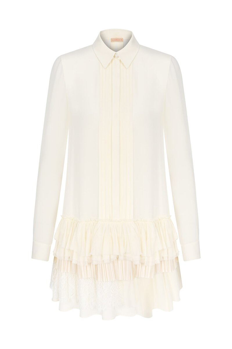 CRAPE SATIN BLOUSE WITH LACE AND PLEATS ON SKIRT