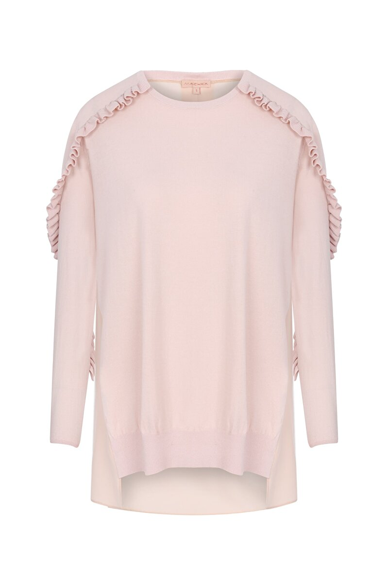 KNITWEAR SLEEVE RUFFLE DETAILED CREW NECK PULLOVER