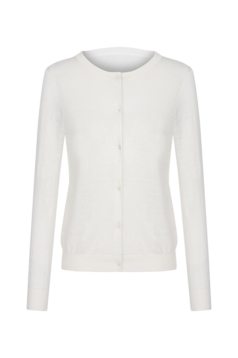 CREW NECK FRONT BUTTONED COTTON THREAD BASIC CARDIGAN
