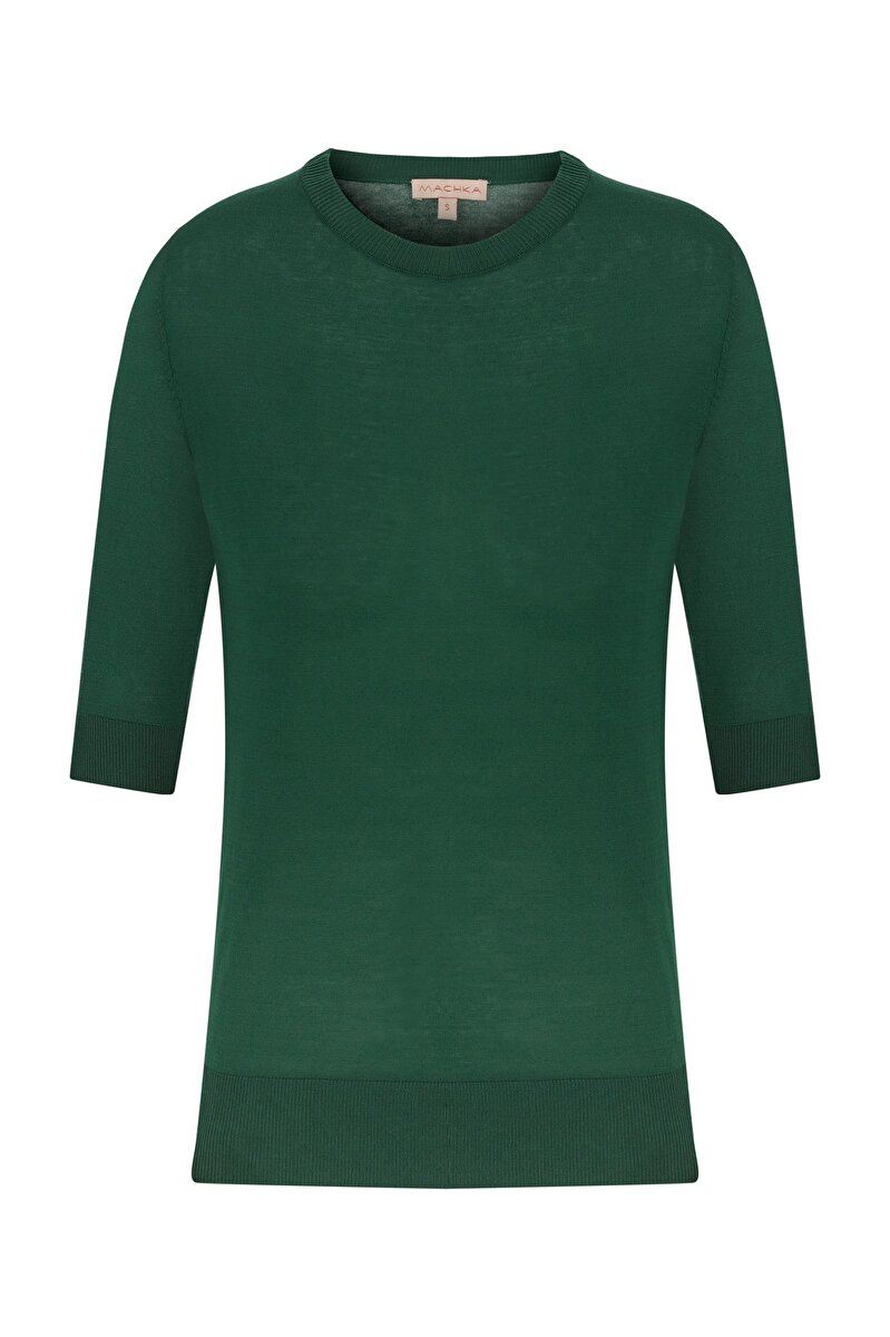 HALF SLEEVE CREW NECK BASIC PULLOVER