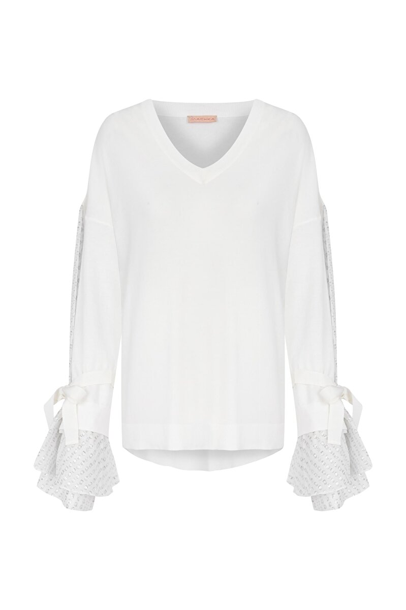 CHIFFON ORNAMENT LACE-UP SLEEVE GROSGRAIN DETAILED V-NECK PULLOVER