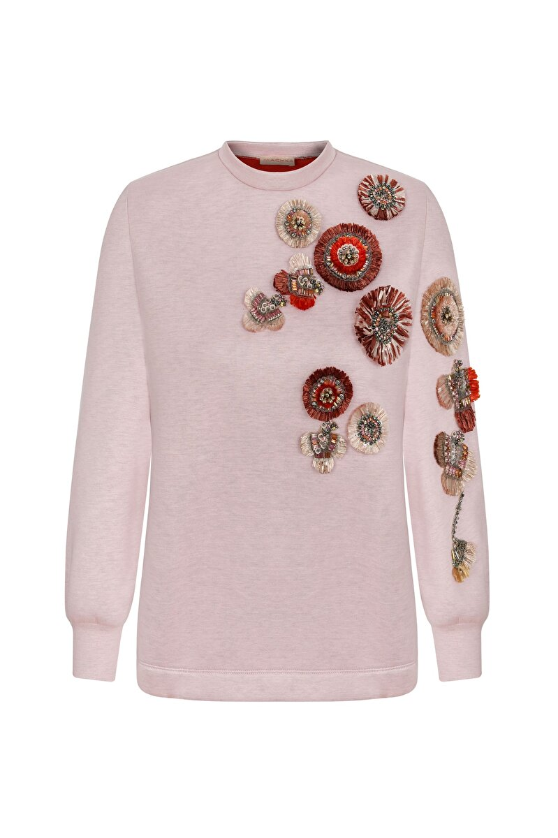 FLORAL RAFFIA MODULE DETAILED CREW NECK SWEATSHIRT