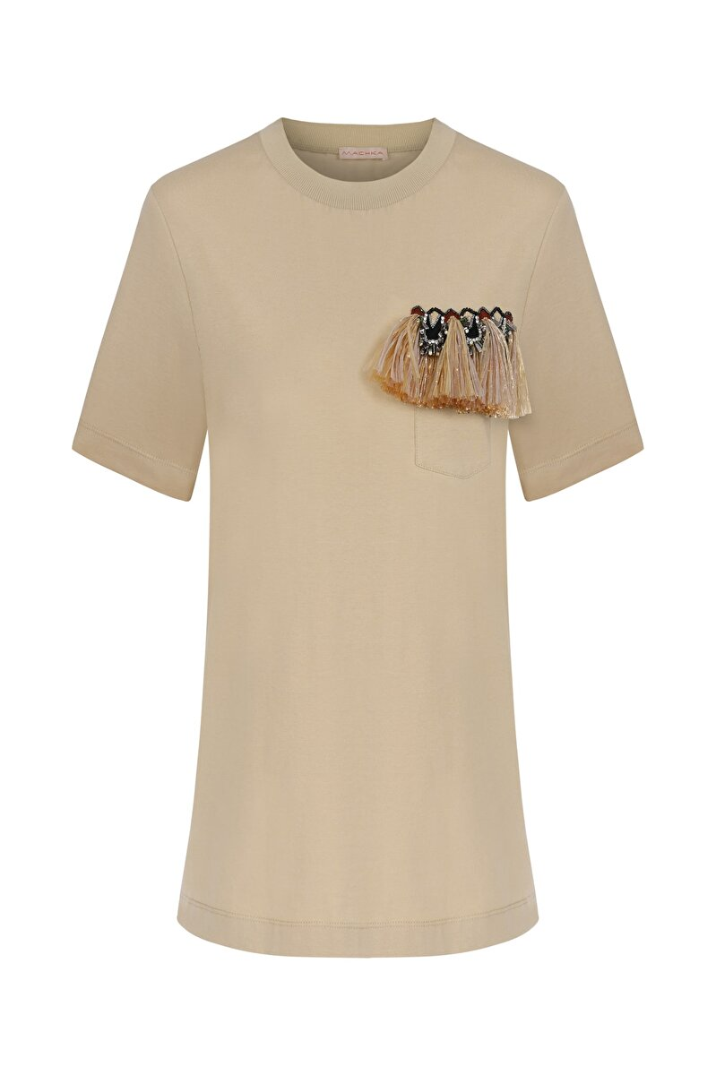 ETHNIC RAFFIA POCKET DETAILED CREW NECK T-SHIRT