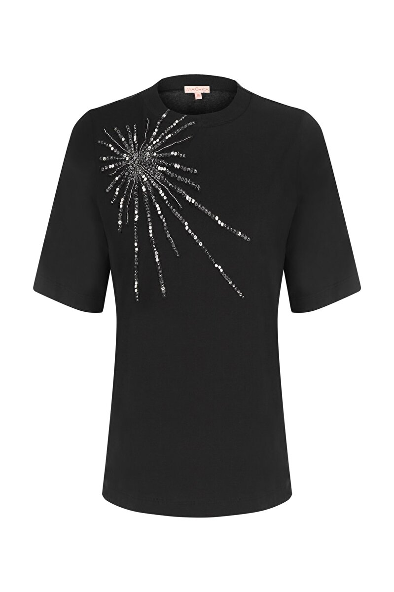 STAR APPLIQUE DETAILED CREW NECK T-SHIRT