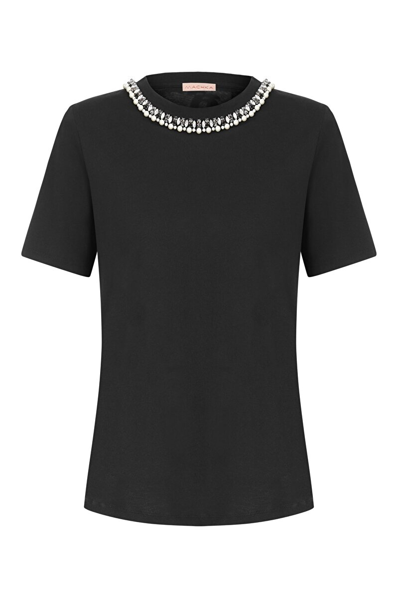 CRISTAL AND PEARL LINED EMBROIDERED CREW NECK T-SHIRT