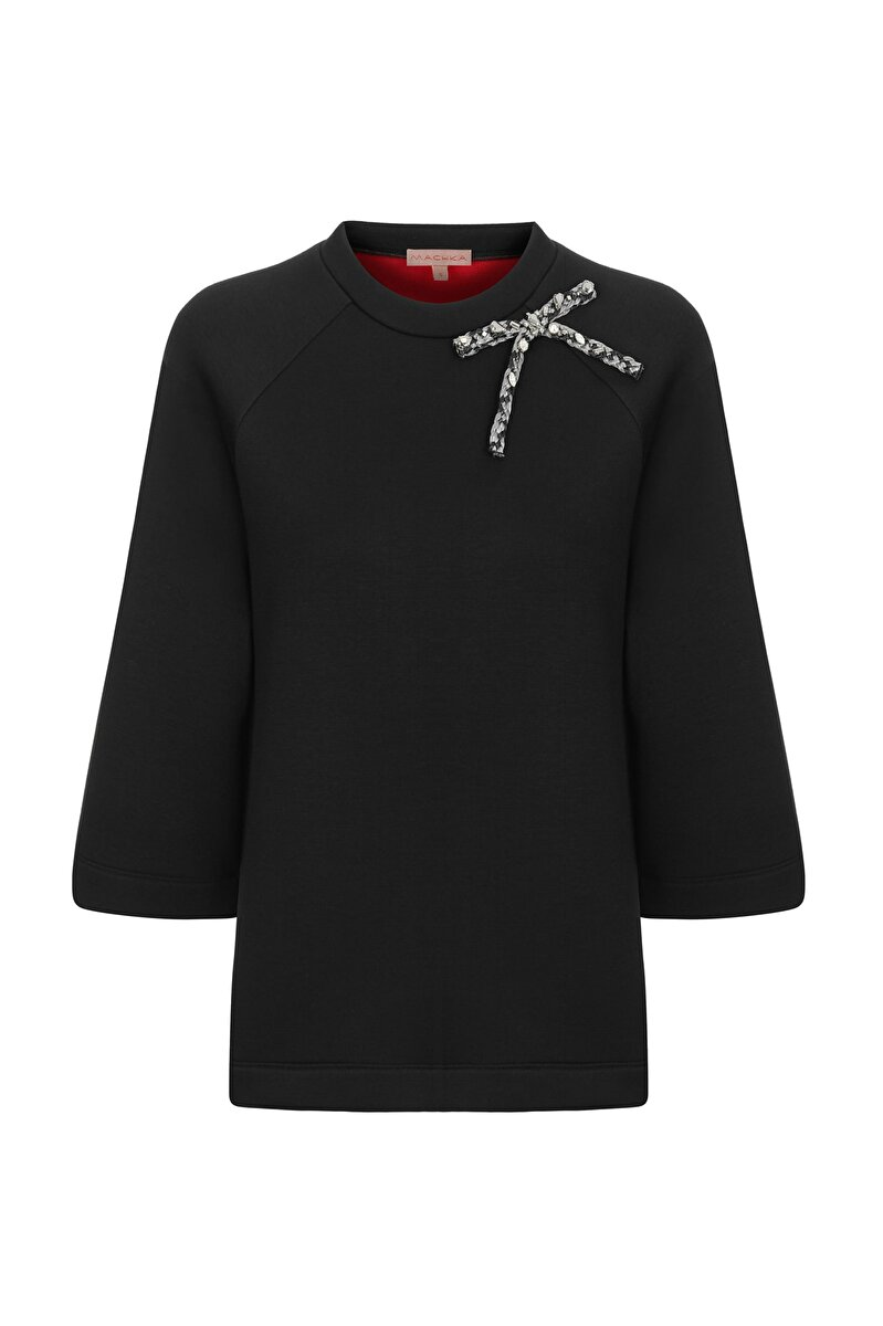 BONDED JERSEY SWEATSHIRT WITH RAFFIA EMBROIDERY AND BOW