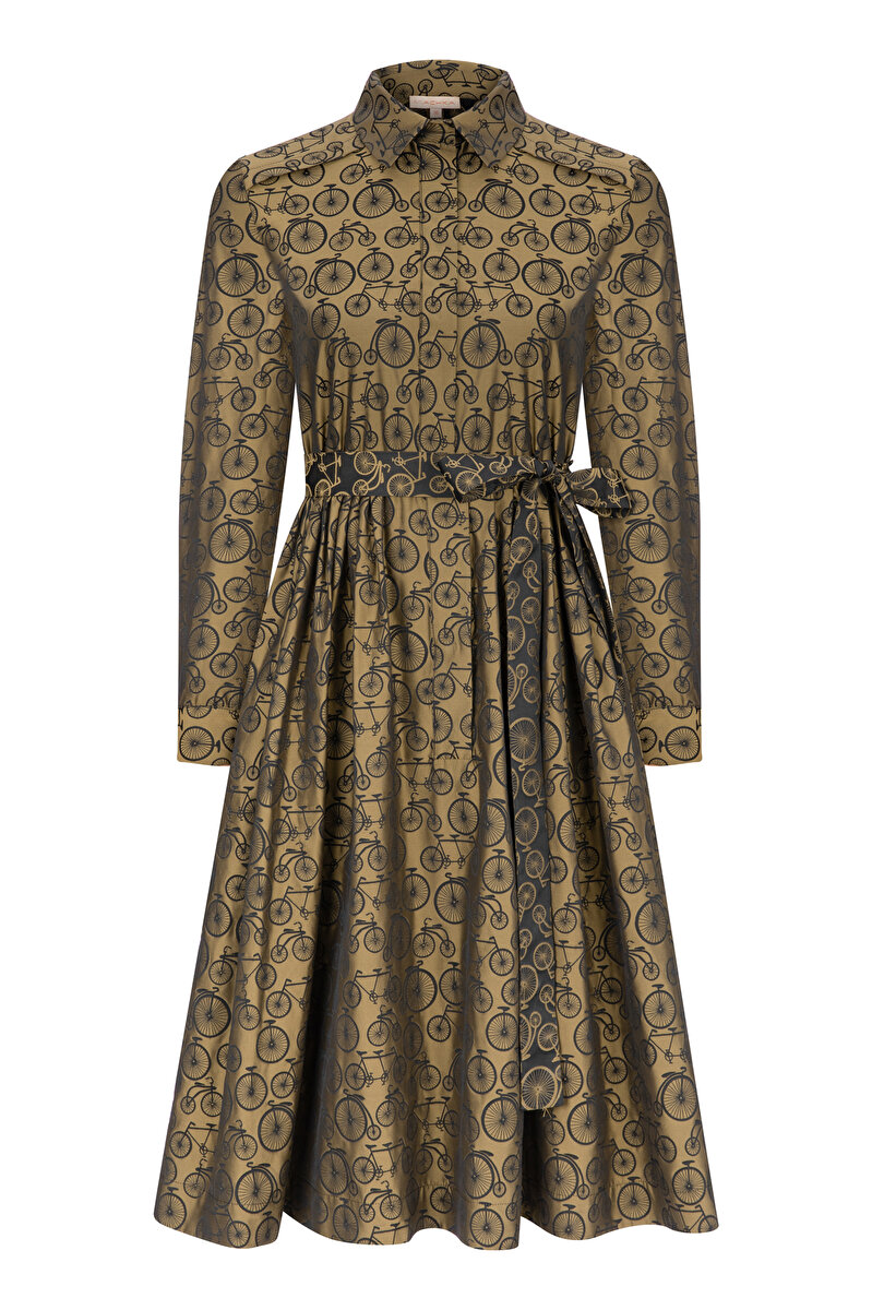 CREW NECK JACQUARD DRESS WITH BELT