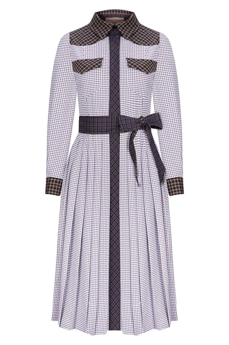 PLAID POPLIN SHIRT DRESS WITH BELT