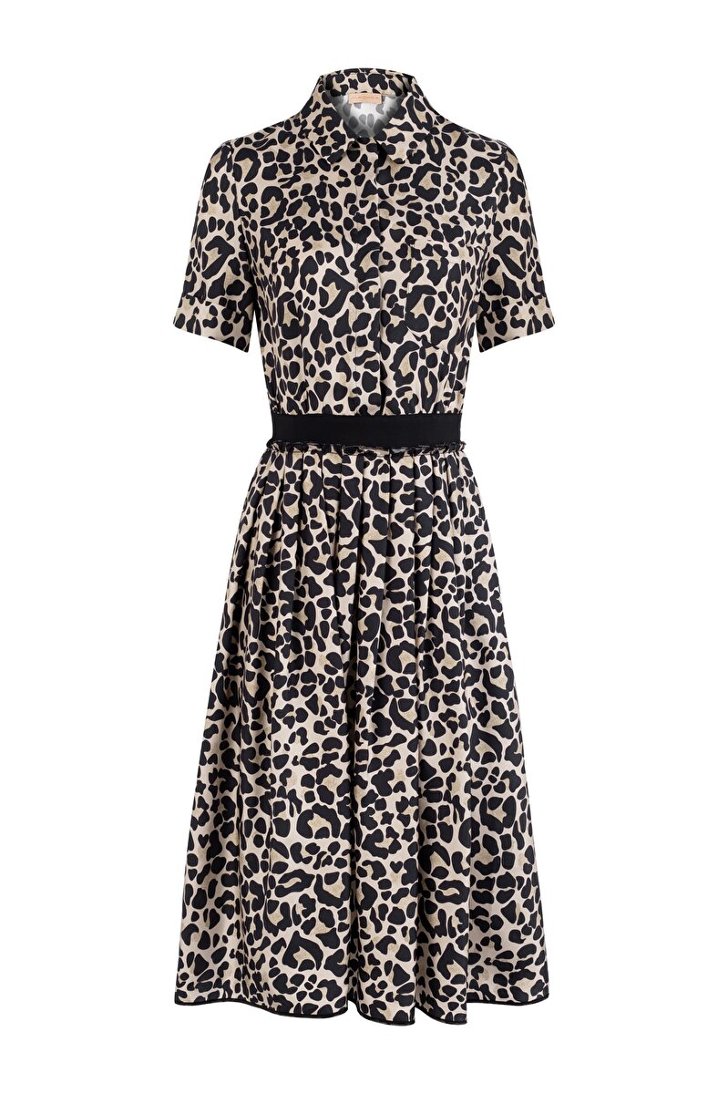 LEOPARD TWILL SHIRT DRESS