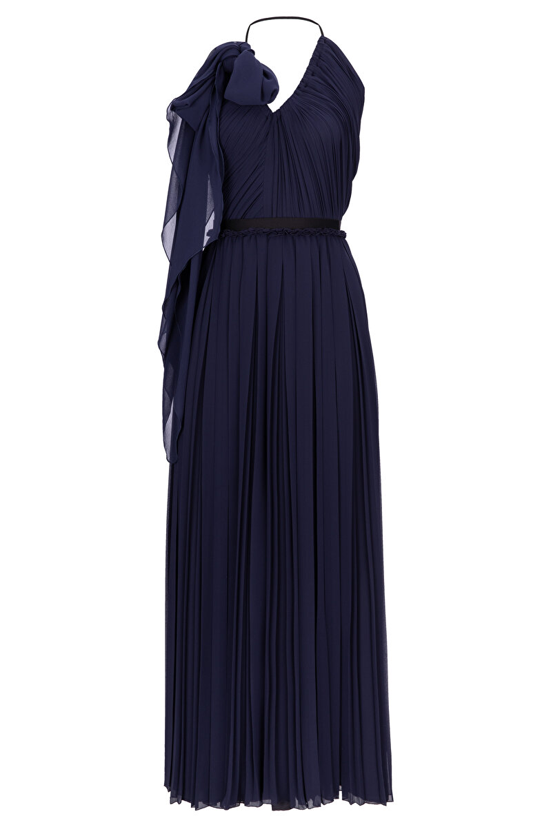 ONE SHOULDER PLEATED CHIFFON DRESS WITH HUGE BOWTIE
