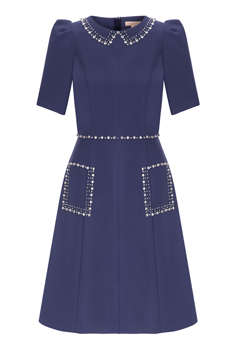 CRYSTAL EMBROIDERED CREPE DRESS