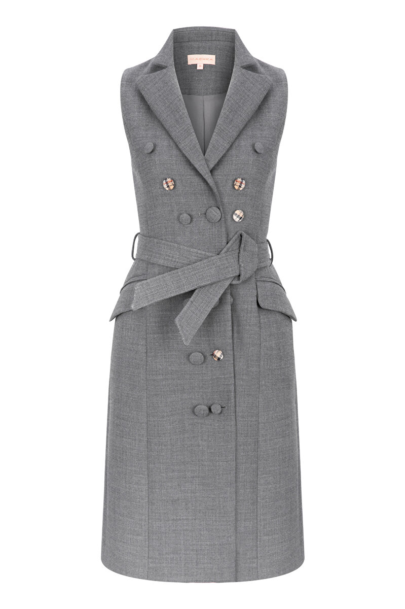 WOOL GABARDINE VEST-DRESS WITH BUTTON