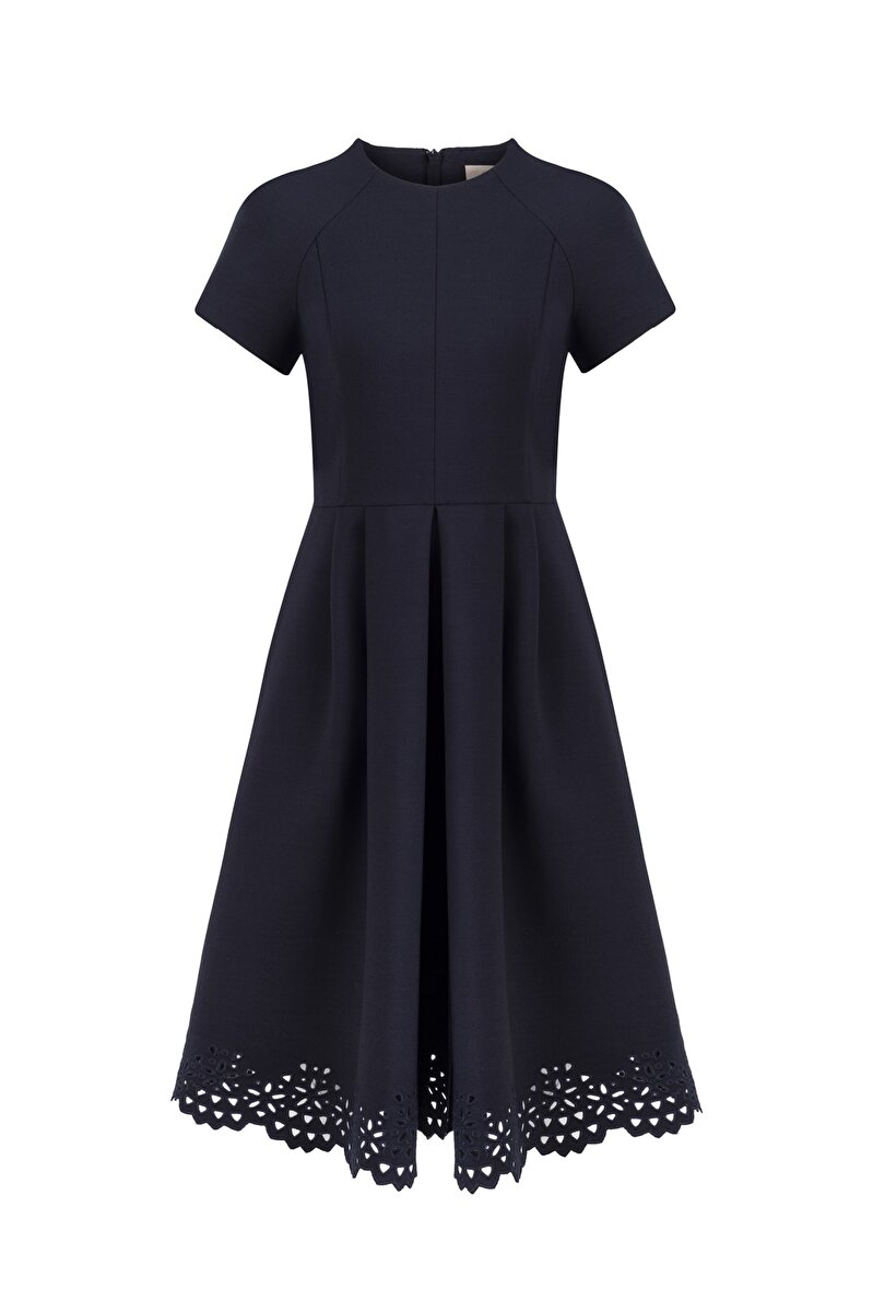 EMBROIDERED WOOL GABARDINE DRESS WITH PLEATED FRONT