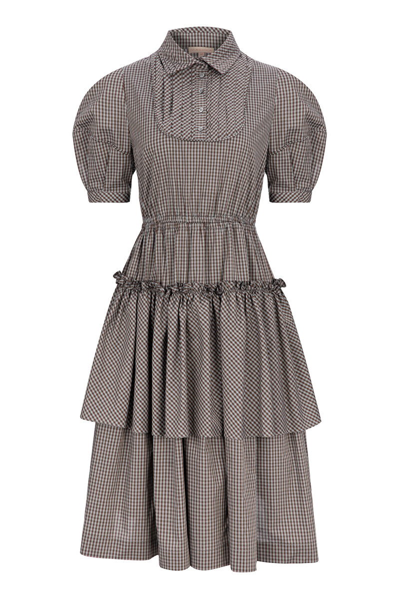 BALLOON SLEEVED FLARED PLAID POPLIN DRESS