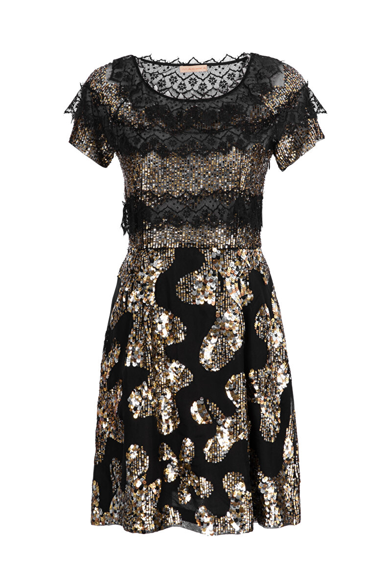 FRENCH LACE COCKTAIL DRESS WITH METALLIC SEQUINS