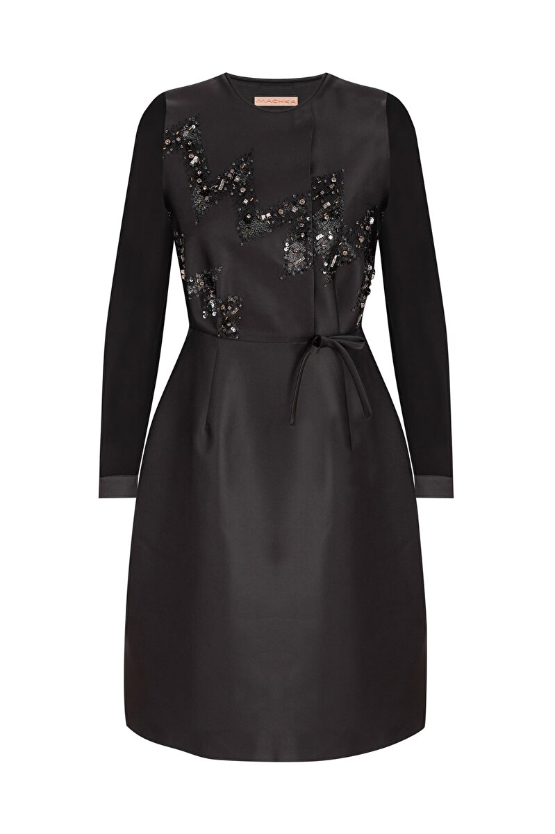 EMBROIDERED SATIN DUCHESS DRESS WITH SILK SLEEVES