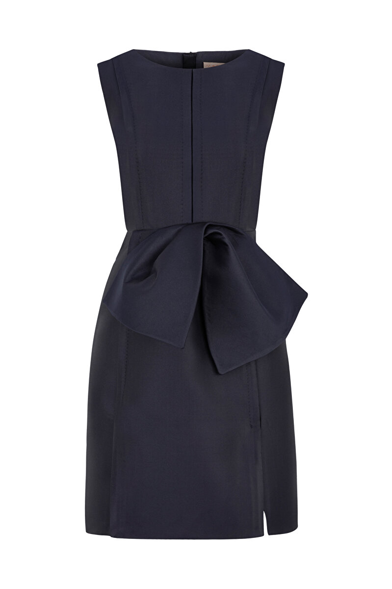 WIDE SHOULDER BONDED CREPE DRESS WITH BOWTIE