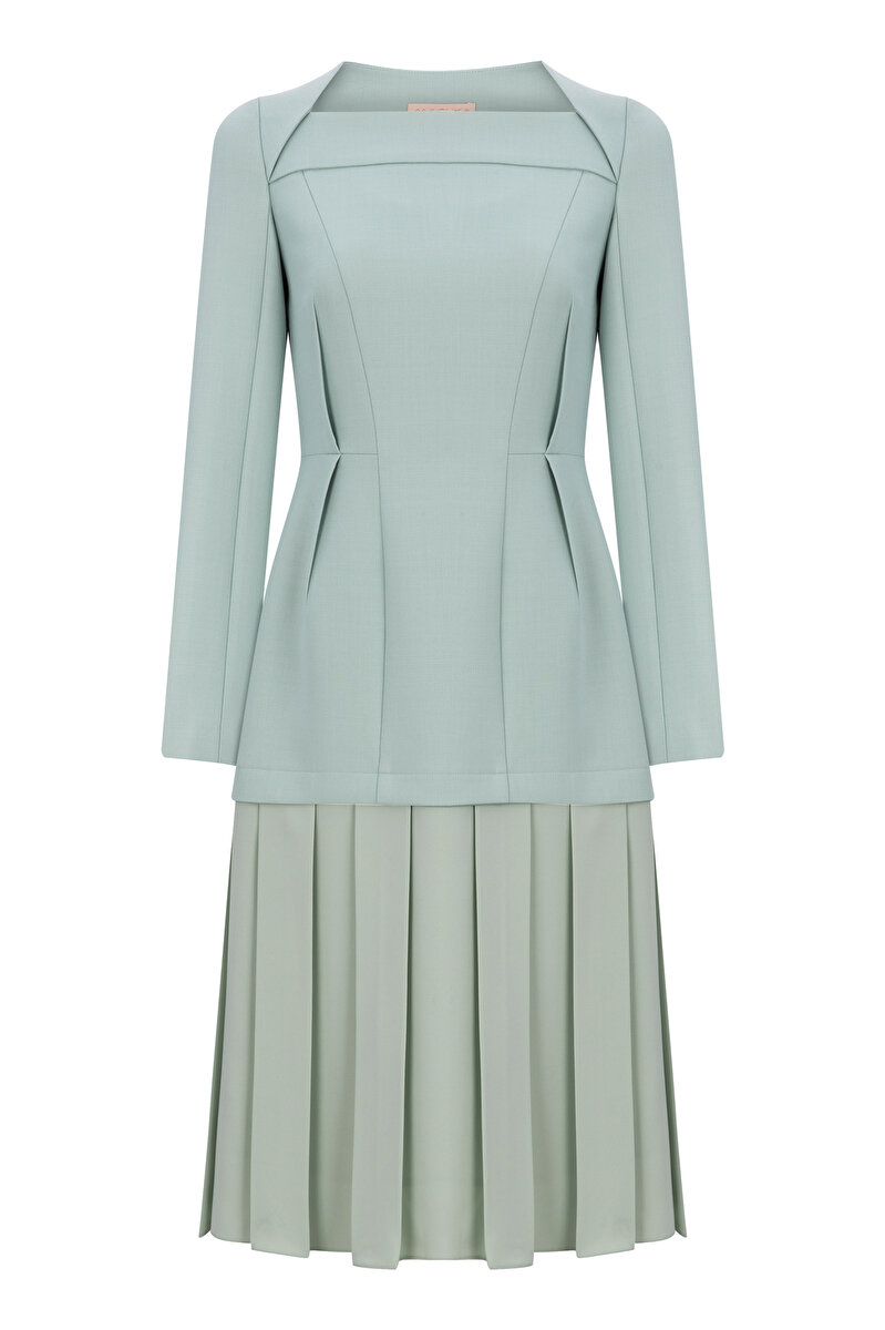 BONDED DRESS WITH CREPE SKIRT