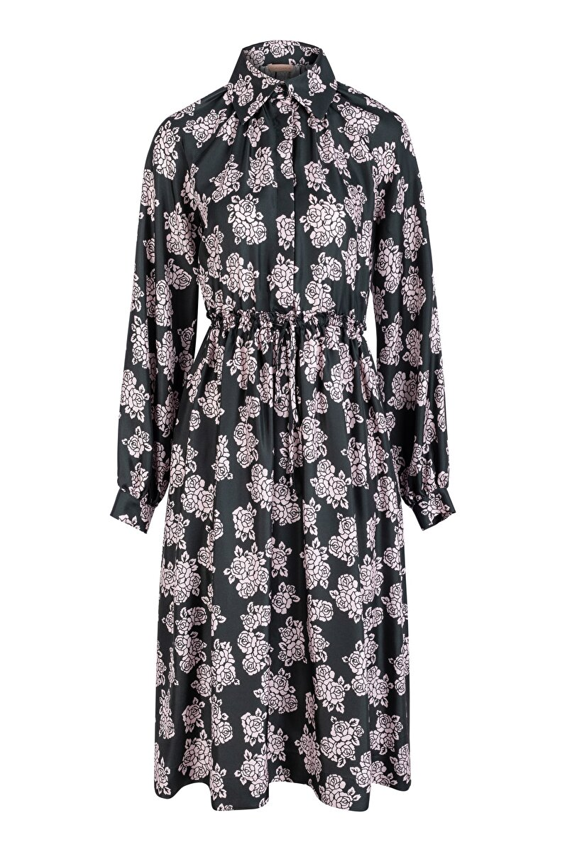 ROSE PATTERNED SHIRT NECK DRESS WITH SHIRRS