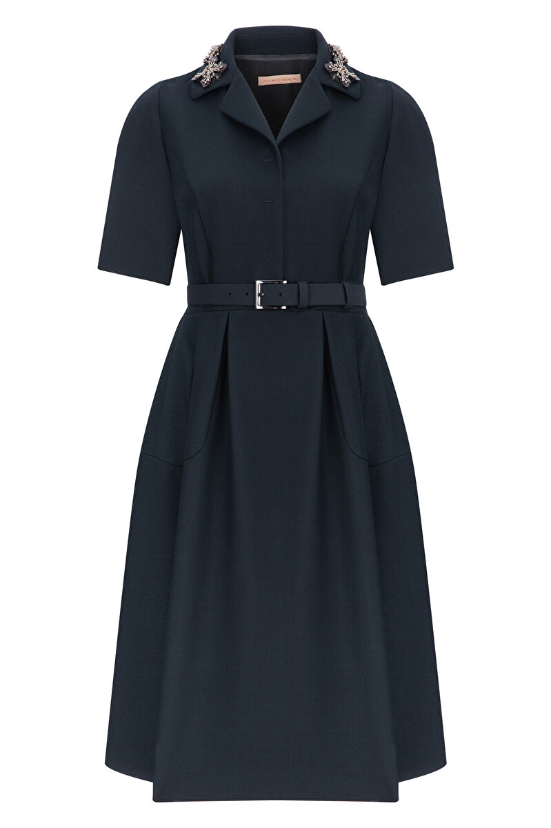EMBROIDERED DOUBLE WOOL DRESS WITH BELT