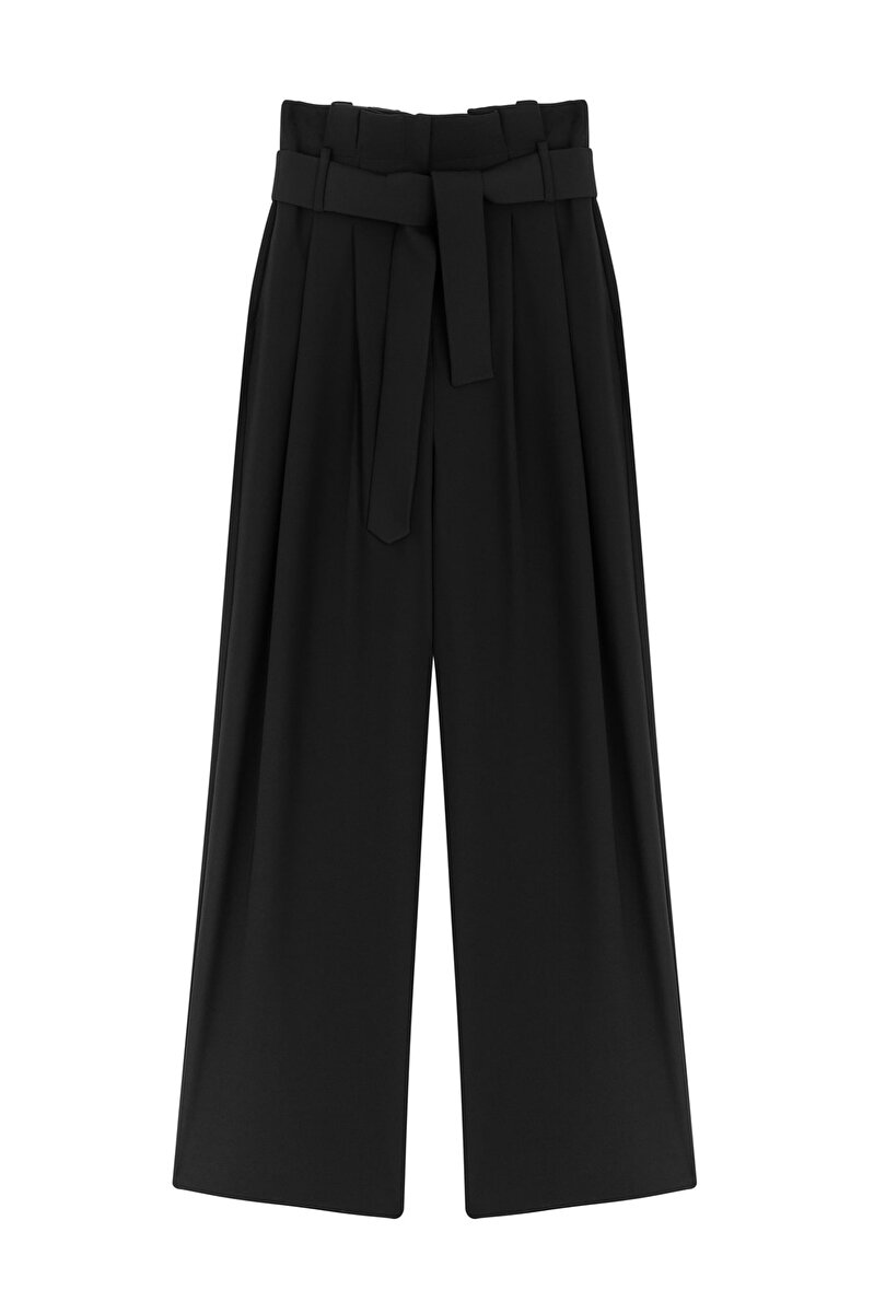 WIDE CUT CREPE PANTS WITH BELT