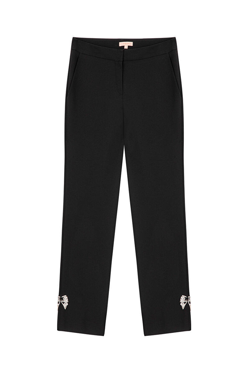 CREPE PANTS WITH CRYSTAL BOW ON LEG