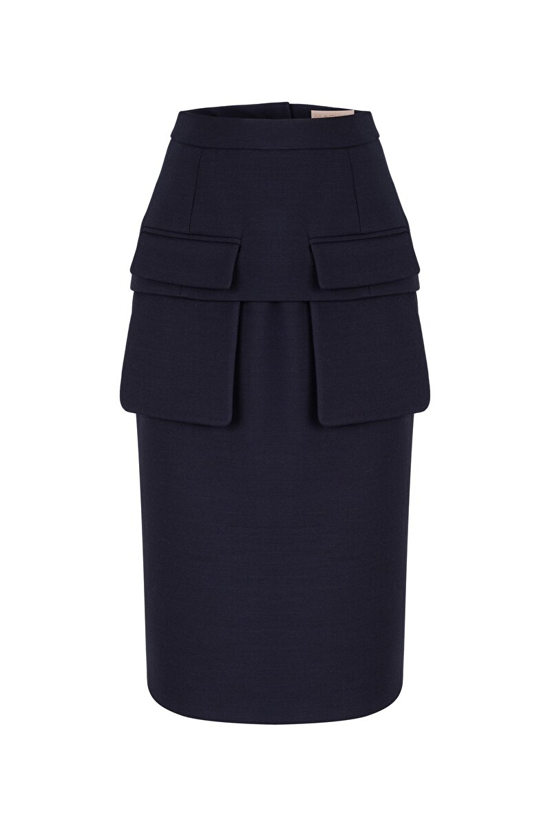ALLER POCKET DETAILED DOUBLE WOOL PENCIL SKIRT