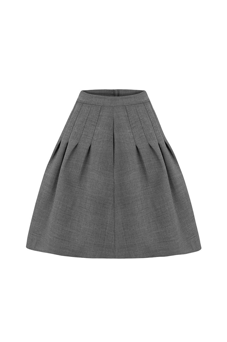 PLEATED WOOL GABARDINE SKIRT