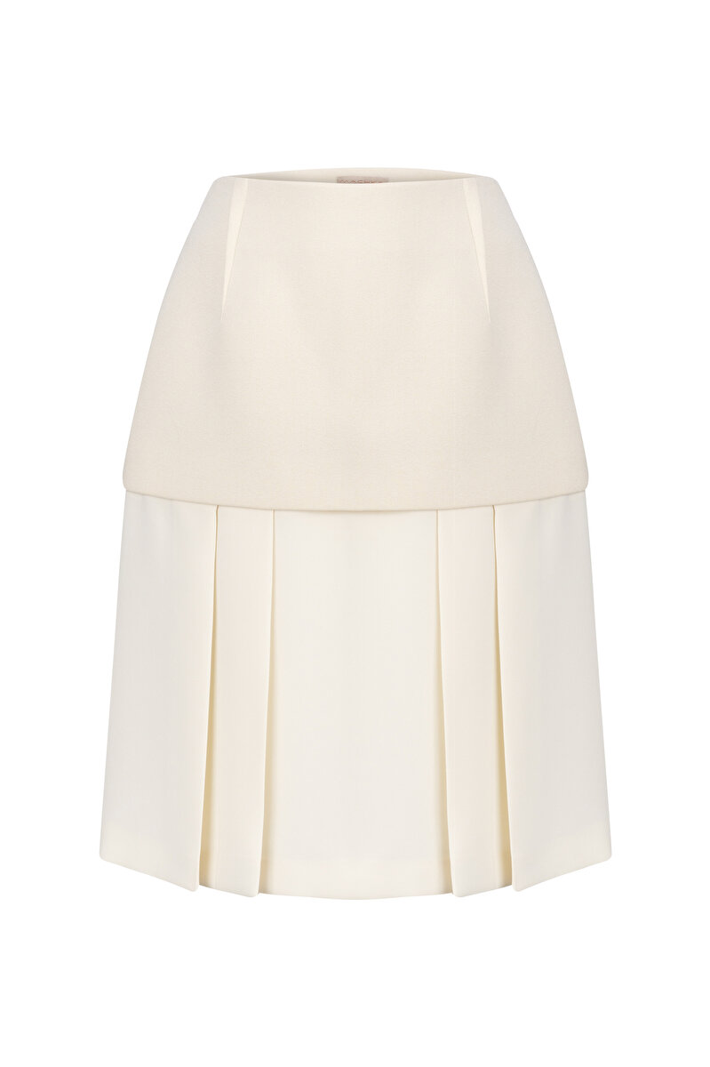PLEATED FABRIC MIX SKIRT