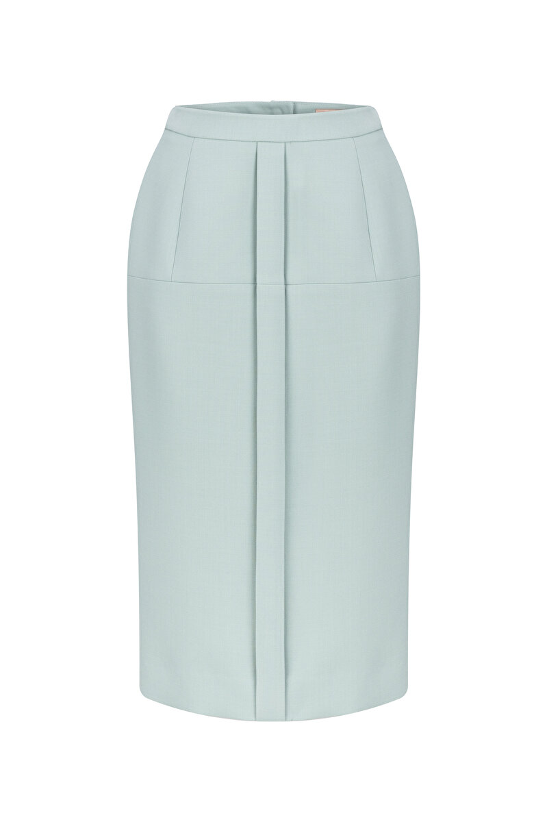 PLEATED DOUBLE WOOL PENCIL SKIRT