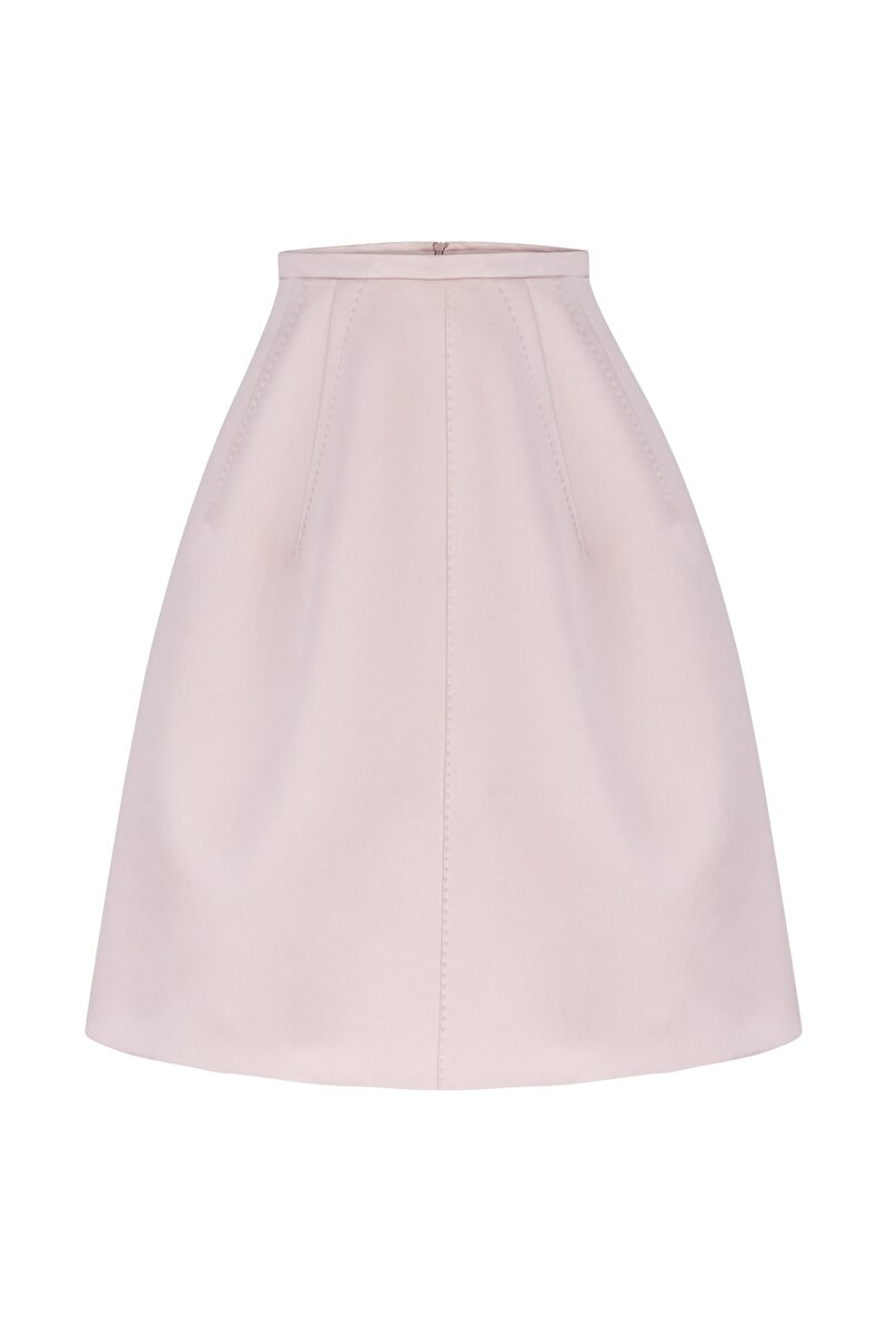 DART DETAILED SATIN DUCHESS BELL SKIRT