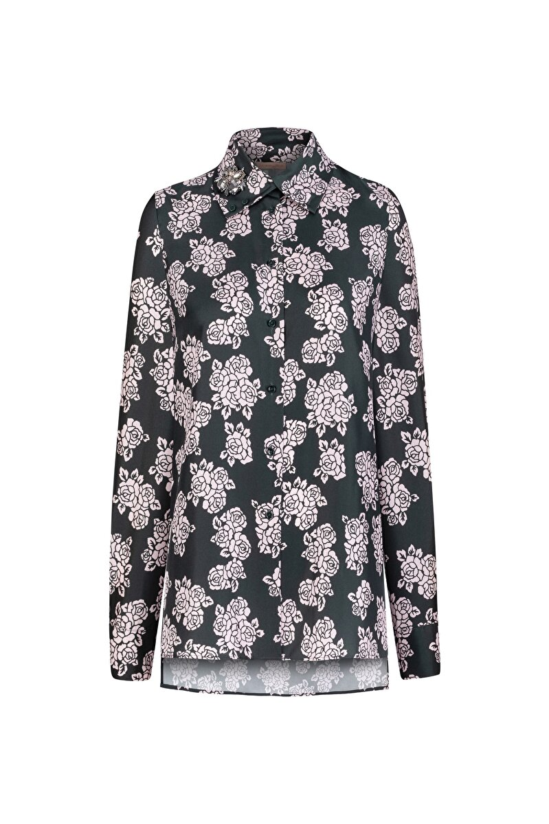 SILK TWILL BLOUSE WITH FLOWER PATTERN