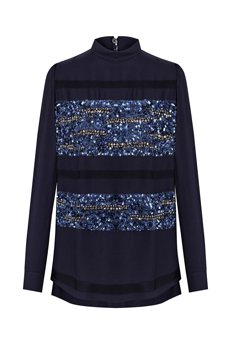 PANEL SEQUIN EMBROIDERED SILK BLOUSE