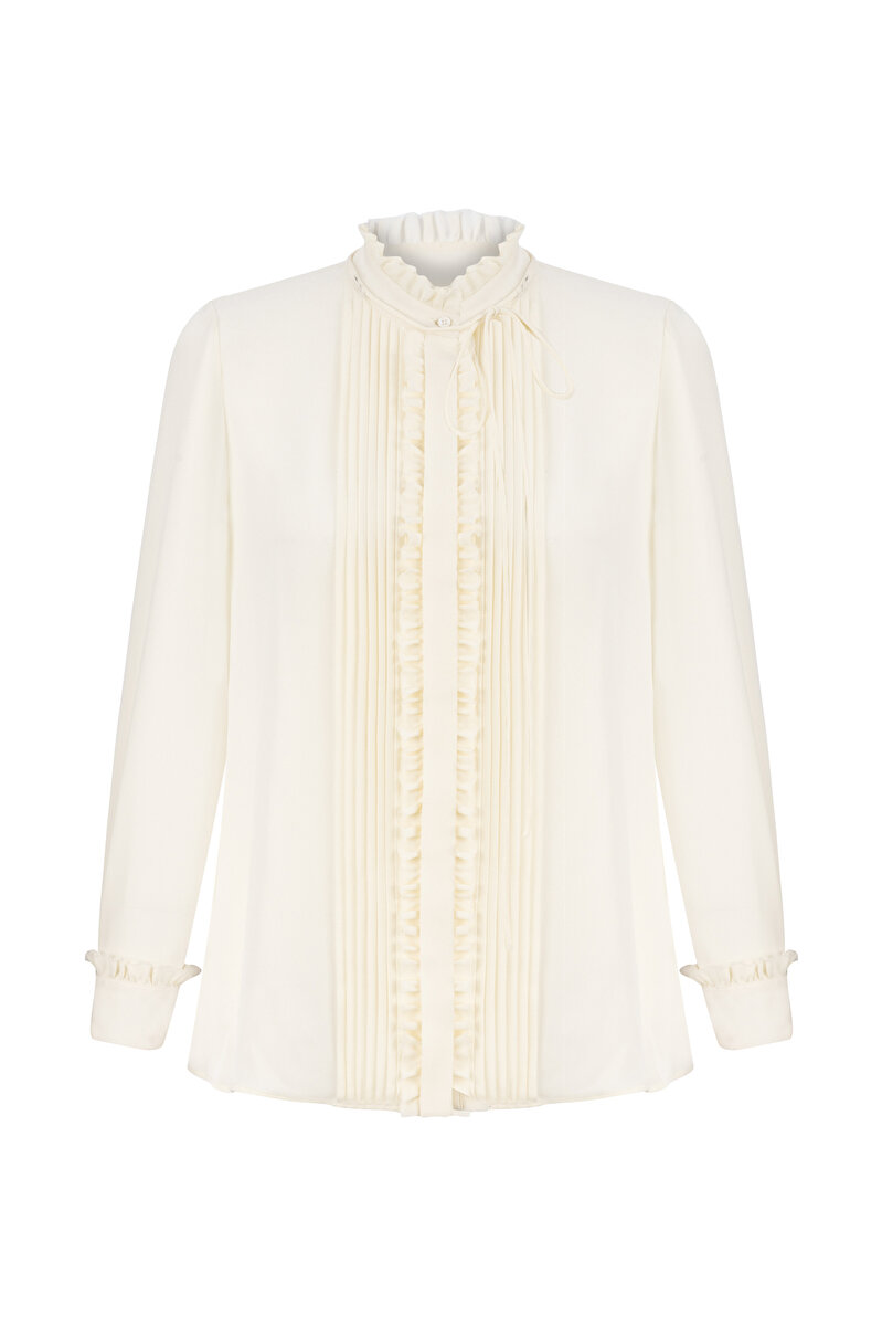 RIB AND FRILL DETAILED SILK BLOUSE