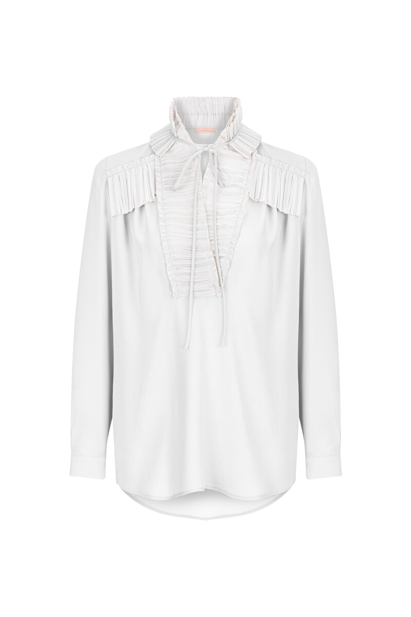 THINLY PLEATED SATIN BLOUSE