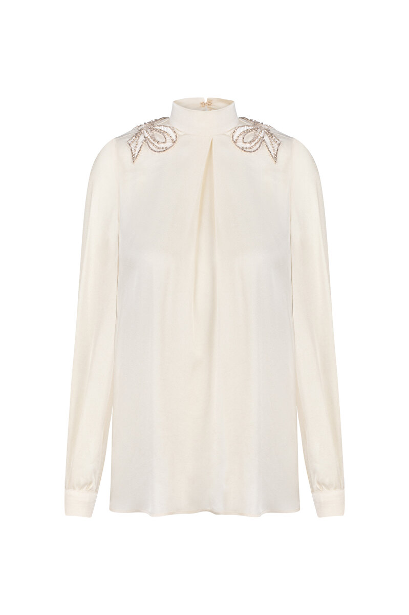 SATIN BLOUSE WITH DOUBLE BOWTIE EMBROIDERY AND INVERTED PLEAT