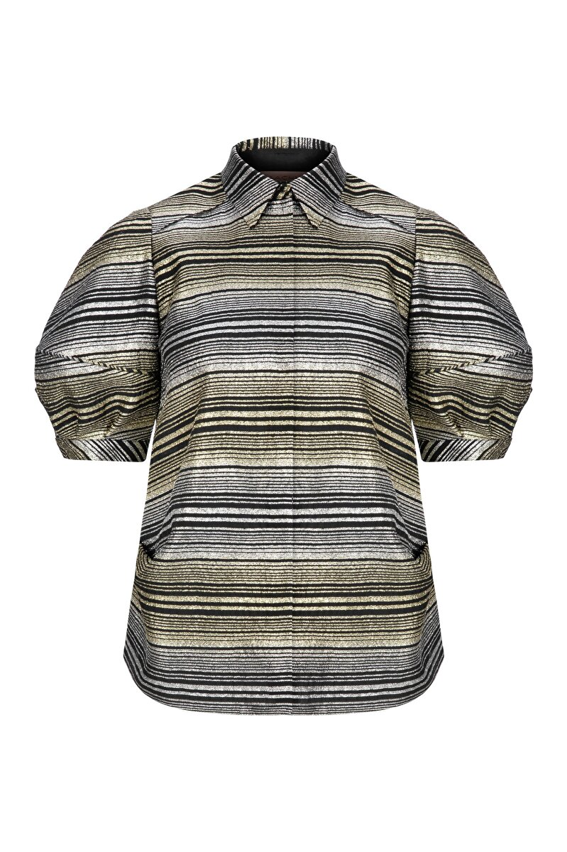 BALLOON SLEEVED METALLIC JACQUARD SHIRT