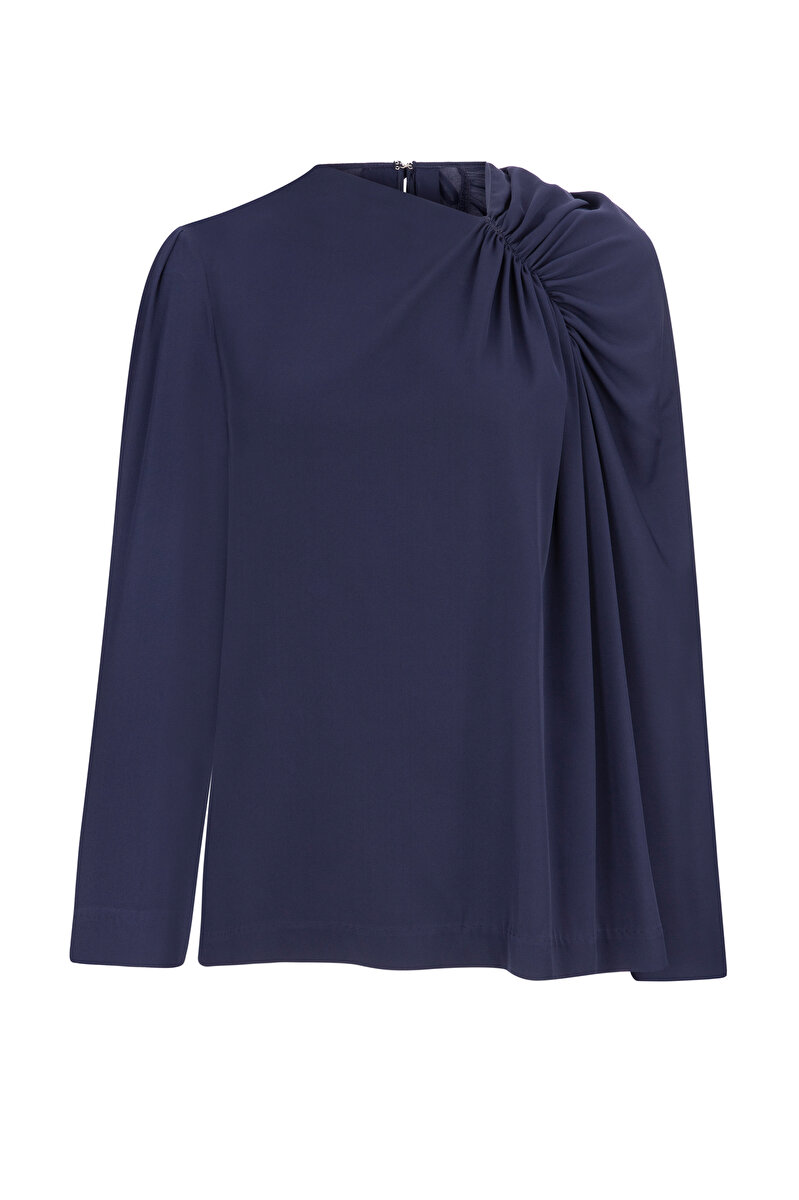 DRAPE DETAILED SILK BLOUSE WITH ASYMMETRIC NECK