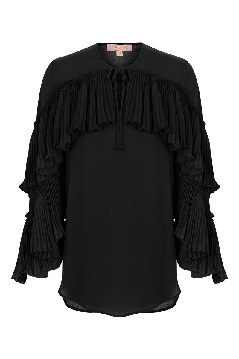 PLEATED CHIFFON BLOUSE TIED IN THE FRONT