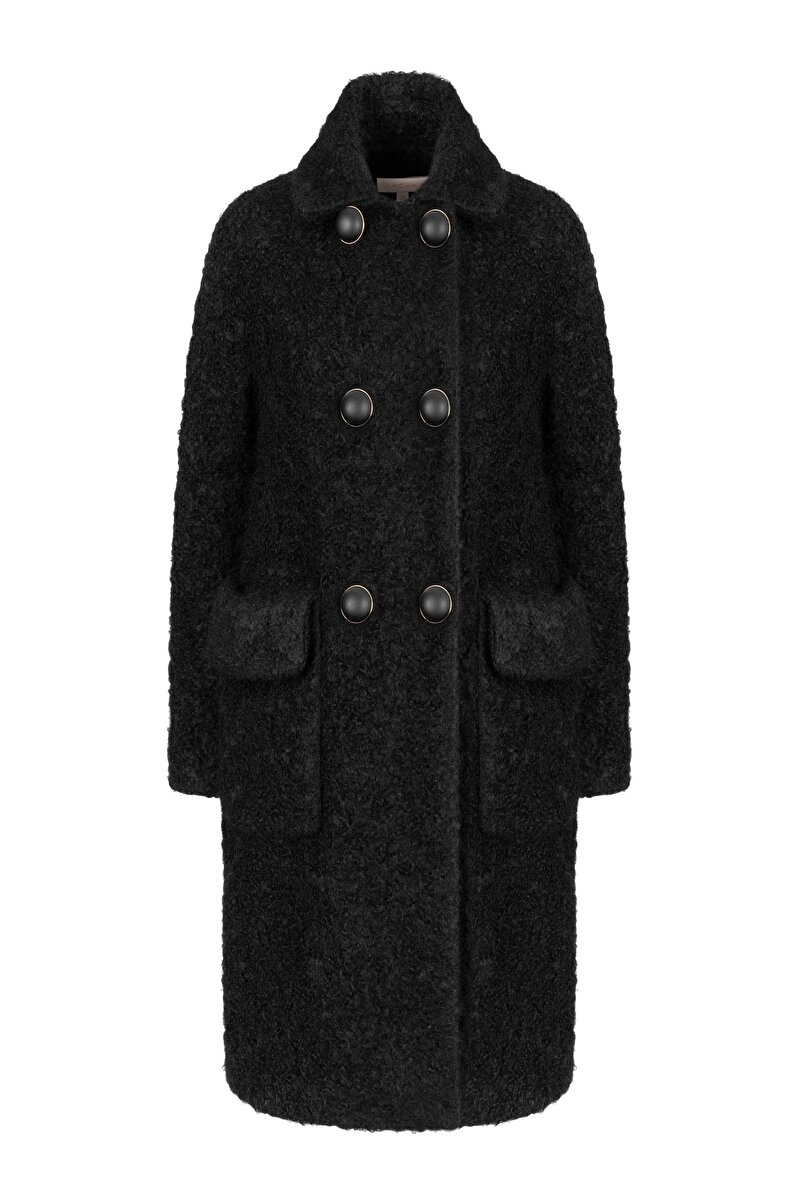 RAGLAN SLEEVED CURL COAT WITH BIG BUTTONS