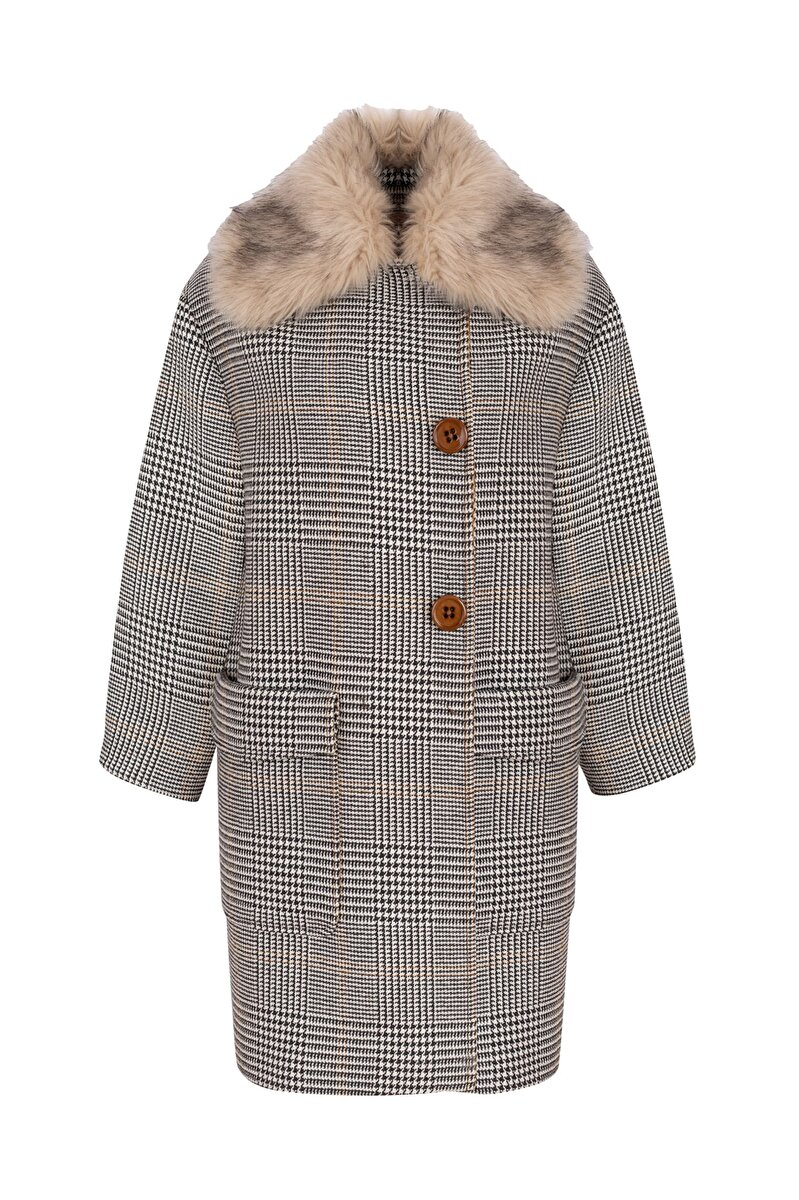 PLAID COAT WITH CONTRAST NECK AND FUR DETAIL