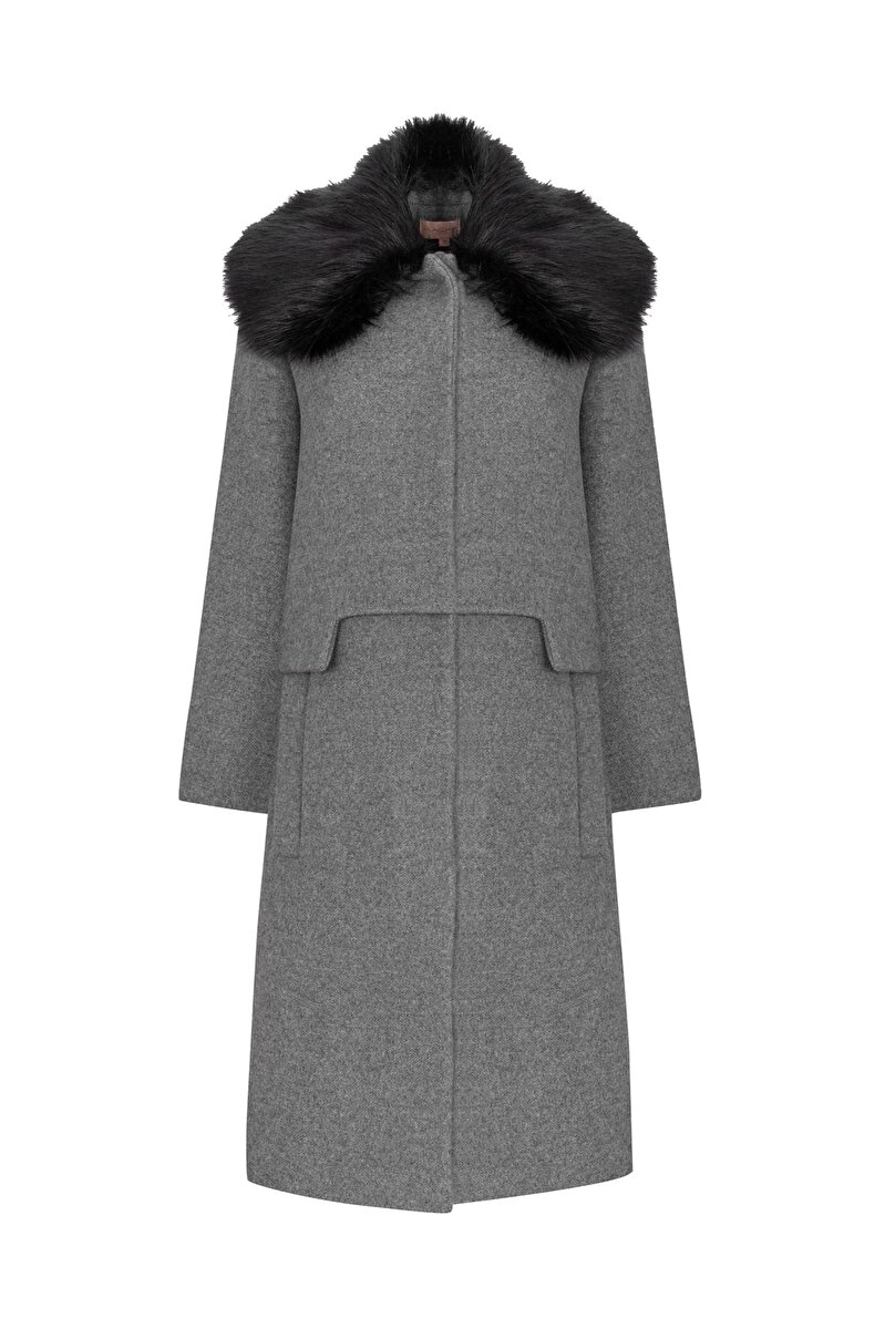 POCKET DETAILED CACHET COAT WITH FUR NECK