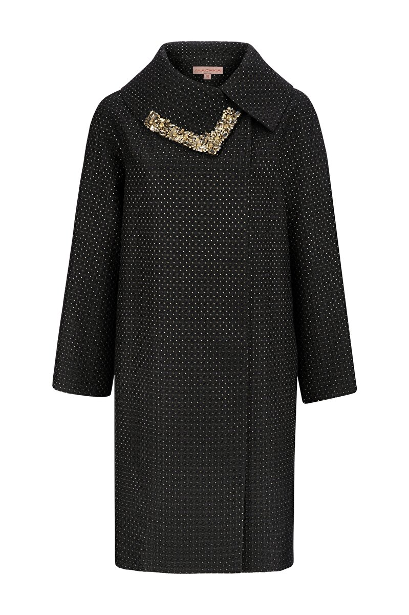 EMBROIDERED JACQUARD TOPCOAT WITH SMALL DOTS