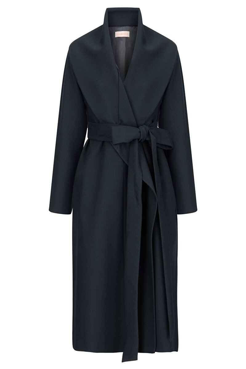DOUBLE WOOL TOPCOAT WITH THREE DIFFERENT NECKS AND BELT